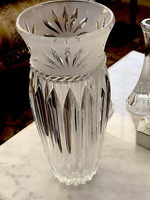 """Crystal Large Vase 12"""" Tall & 5"""" Open. Antique Hand Made"""