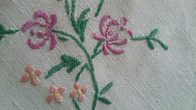 A fine Vintage Hand Embroidered square tablecloth/Panel Art Deco flowers linen