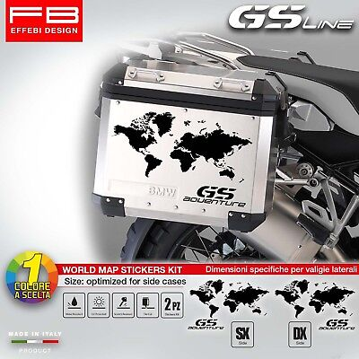 Adesivi Stickers Bmw R1200 GS ADVENTURE World Map Valigie Suitcase Alluminio Bag
