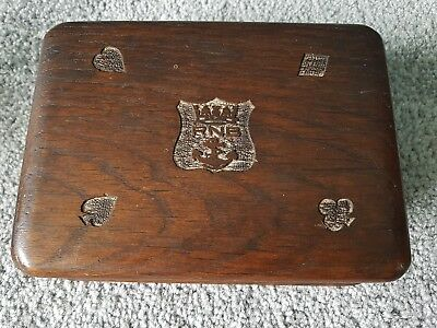 Antique Vintage hand made carved Wood playing cards box ROYAL NAVY