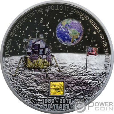 MOON LANDING Apollo 50th Anniversary 3 Oz Silver Coin 20$ Cook Islands 2019