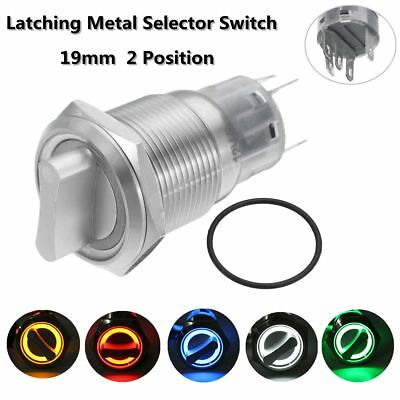 19mm 12V LED ON/OFF Self Locking Latching Metal Selector Switch Stainless Steel