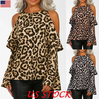 4fab392844e1 Women Cold Shoulder Ruffle Tops Leopard Print Long Sleeve Sexy Blouse T  Shirt US