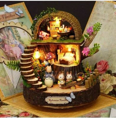 DIY Assembled Resin Anime Cottages Music Box Totoro Fantasy Forest Birthday Gift
