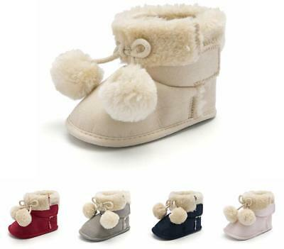 Christmas Gift Baby Boys Girls Pram Shoes Snow Booties Infant Pom Pom Ball Boots