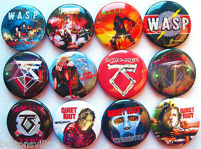 WASP TWISTED SISTER QUIET RIOT Button Badges Pins Heavy Metal Lot of 12