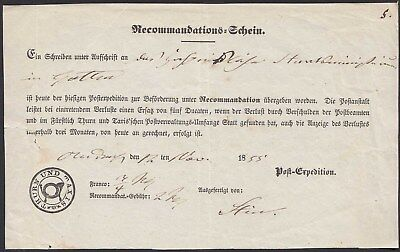 Thurn + Taxis 1855 Recommandations-Schein Post Expedition selten   (20886