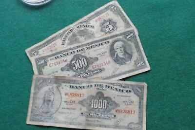 American Bank note Co 3 notes 5, 500  & 1000 pesos notes  used