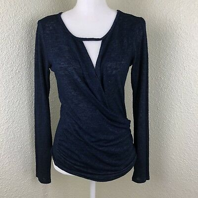 029df024d0a07 Velvet By Graham   Spencer Women s Small Keyhole Long Sleeve Knit Soft Top  Blue