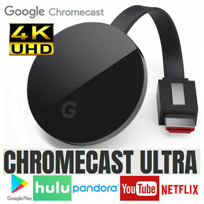 Google Chromecast Ultra 4K HDMI HDR Streaming Mobile Wireless Player WiFi Apps