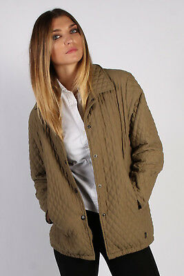 Vintage Barbour Quilted Womens Coat Jacket Winter Fashion Warmer M Khaki BR624