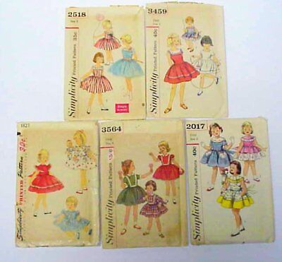 Lot of Vintage 50's Simplicity Patterns Girls Dresses & Doll Dress Sizes 1,3,4