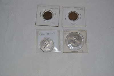 LOT of 4 DIFFERENT GREAT BRITAIN (UK) COINS – 1941 Farthing 1971 (1P), 1973 (50)