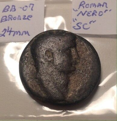 Ancient Roman NERO Bronze 24mm Large SC Wreath City Coin Thick And Heavy Scarce!