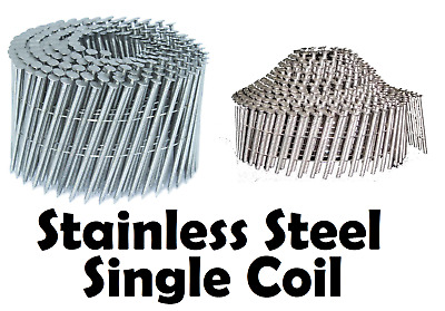 Stainless Steel Wire Collated 16º Coil Nails, Flat & Conical (Dome), Single Coil