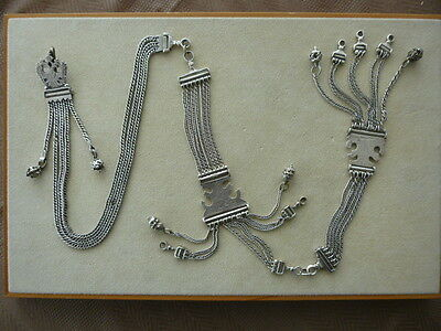 Antique Ottoman Tughra Turkish Greek Middle East Balkan Watch Silver Chain Eagle