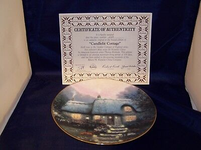 """Thomas Kinkade Collectible Limited Edition """"Candlelit Cottage"""" plate"""