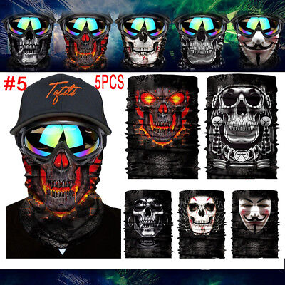 Lots Camo Skull Head Face Mask Neck Gaiter Snood Tube Motorcycling Face Scarf