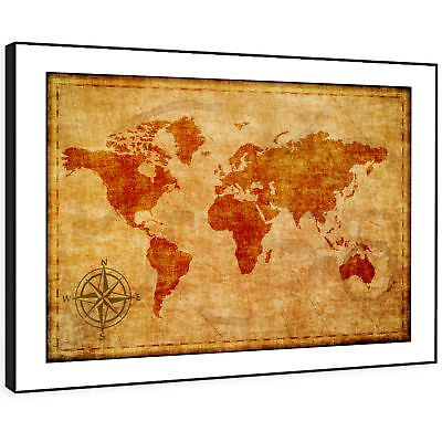 SC630 Cool Retro Brown World Map Vintage Framed Wall Art Large Picture Prints