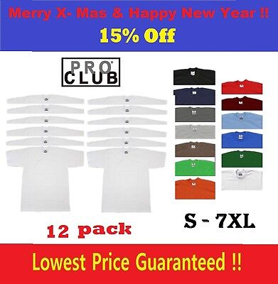 12 Pack PRO CLUB PROCLUB MEN'S HEAVY WEIGHT SHORT SLEEVE T-SHIRT - one dozen
