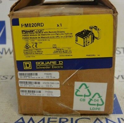 New Surplus Square D PM820RD PowerLogic Meter Module With Remote Display