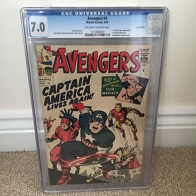Avengers #4 CGC 7.0 F/VF UK Edition OW/W 1st Silver Age app of Captain America