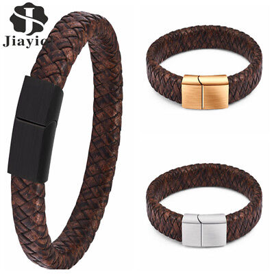 JYQ Men's Stainless Steel Leather Bracelet Magnetic Gold Clasp Bangle Cuff Black