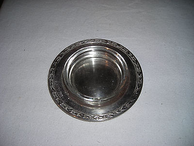 Vintage! WM.Rogers Round Silverplate/Glass Ash Tray Dish