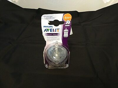 Philips AVENT BPA Free Natural Nipple Shape, Fast Flow 6m+, 2 Count