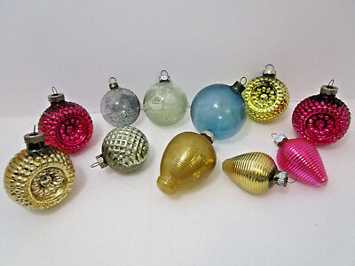 11-VINTAGE-Shiny Brite Bumpy Indent-Ribbed--Unsilvered-Glass Christmas Ornaments