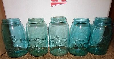 5 Old Vintage Green Blue Wavy Glass Ball Perfect Mason Canning Jars Sloped Neck