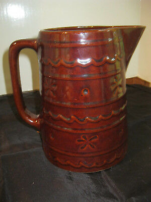 Vintage Marcrest ovenproof stoneware brown Daisy Dot large water pitcher