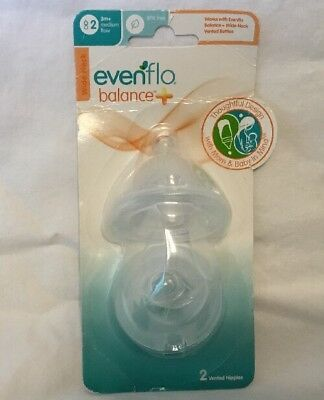 Evenflo Balance Vented Nipple 2 pack 3m+ Medium Flow Wide Neck BPA Free