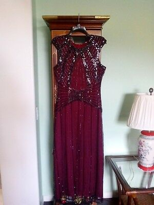 Vintage 1920s Long Cap Sleeve Beaded Sequin Maxi Evening Party Dress Size M