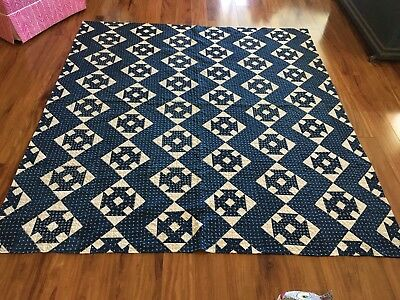 Fabulous Antique Hand Stitched Indigo Blue & White Calico Quilt