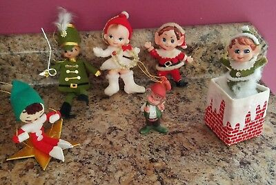 Lot of 6 Vintage CHRISTMAS ELF ORNAMENTS ~ Felt, Pipecleaner, etc ~ Japan