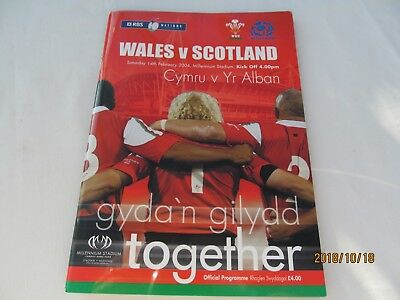 Wales v Scotland. Rugby Union. 2004 Programme + Event Tickets
