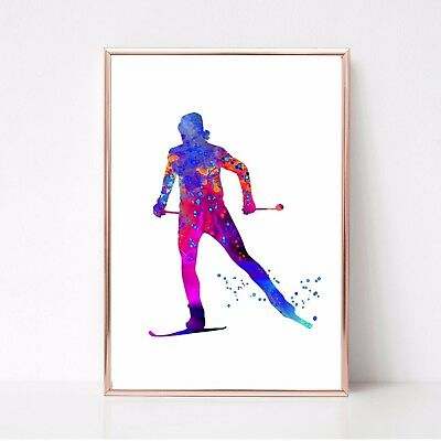skiing Print watercolour paint splatter  a4 glossy poster UNFRAMED 33 wall art