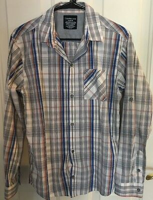 Boys Size XL 18/20 Calvin Klein Jeans Button Front Long Sleeved Plaid Shirt