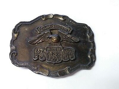 Vintage 1970s Brass Belt Buckle Harley Davidson Made In USA EST. 1903 Eagle