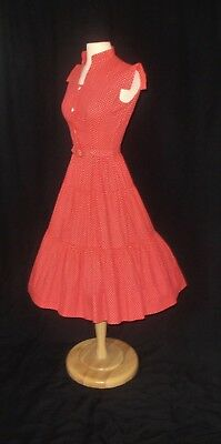 True Vintage 1950s Red with White Polka Dots Full Skirt Swing Sundress
