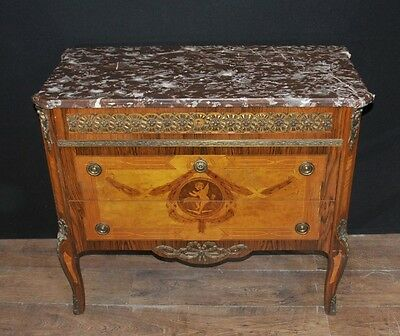 Napoleon II Chest of Drawers - French Antique Commode Cherub Inlay