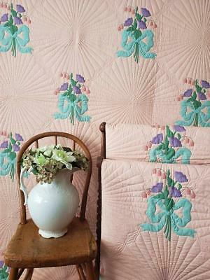 Glorious Pair of Vintage Peach Applique QUILTS Bleeding Hearts Bouquet