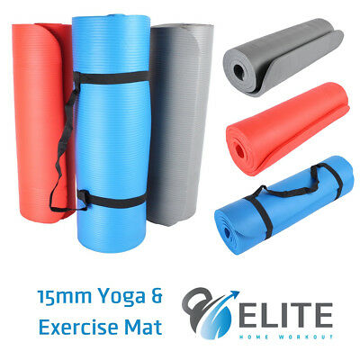 Yoga Pilates Exercise Mat - 15mm Extra Thick NBR Foam & Carry Strap - UK Stock