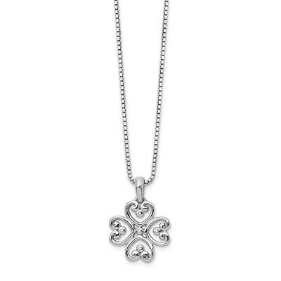 """.925 Sterling Silver 0.02 Ct. Diamond Heart Pendant 18"""" Necklace White Ice"""