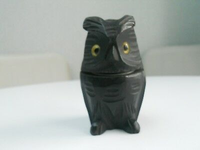 Antique / Vintage Hand Carved Black Forest Wooden Owl Ink Well With Glass Eyes
