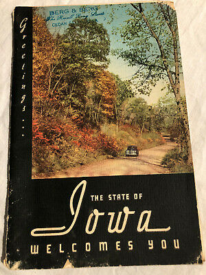 Vintage 1946 GREETINGS STATE of IOWA WELCOMES YOU BOOK -HAWKEYE Photos & Map