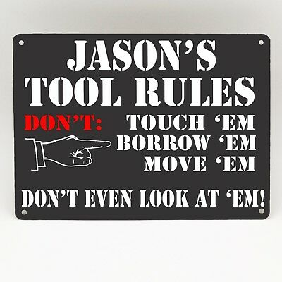 TOOL RULES METAL SIGN PERSONALISED FUNNY VINTAGE Garage Man cave Shed Workshop