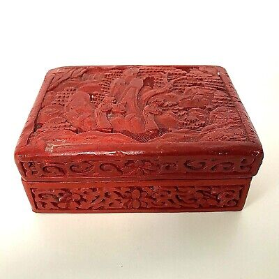 Old Antique Vintage Chinese Carved Cinnabar Box