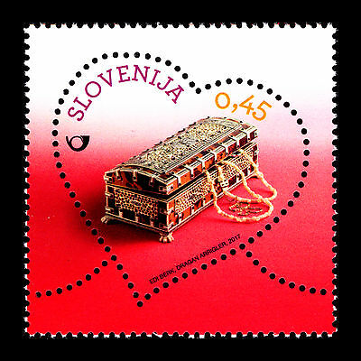 """Slovenia 2017 - Greetings Stamp """"Miniature Painted Chest"""" Heart - MNH"""